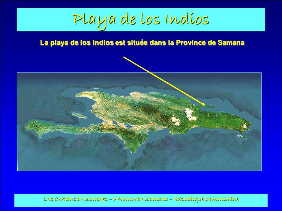 Playa de los Indios Los Corrales de Sanchez – Province de Samana – République Dominicaine À mi chemin des villes de Sanchez et Samana, à 35 minutes de laéroport international de EL CATEY, et 5 minutes de laéroport de ARROYO BARRIL.