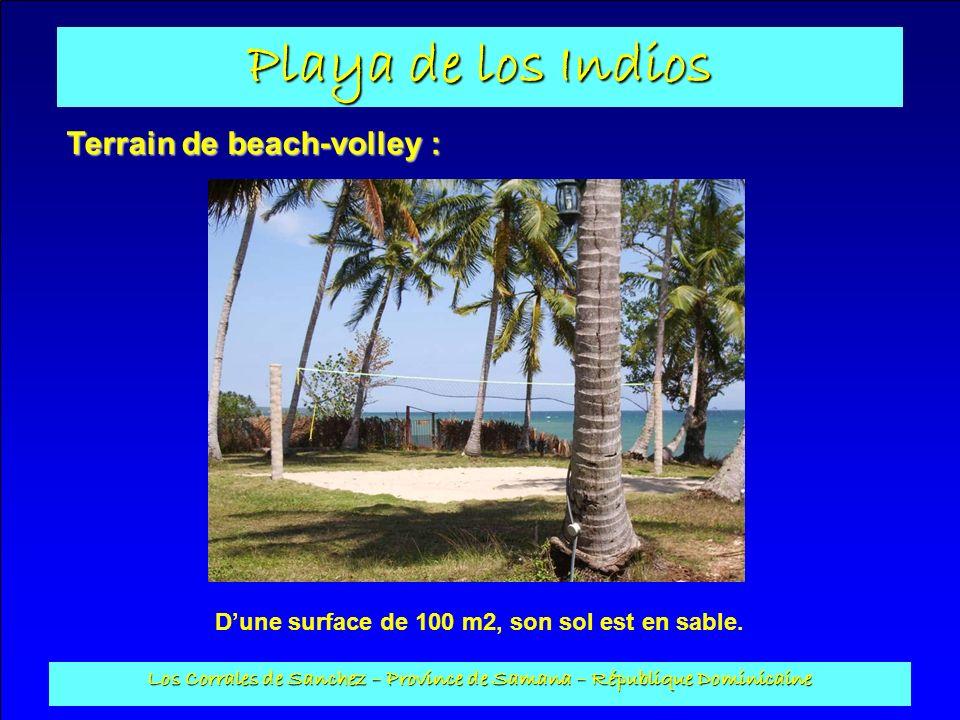 Playa de los Indios Los Corrales de Sanchez – Province de Samana – République Dominicaine Terrain de beach-volley : Dune surface de 100 m2, son sol es