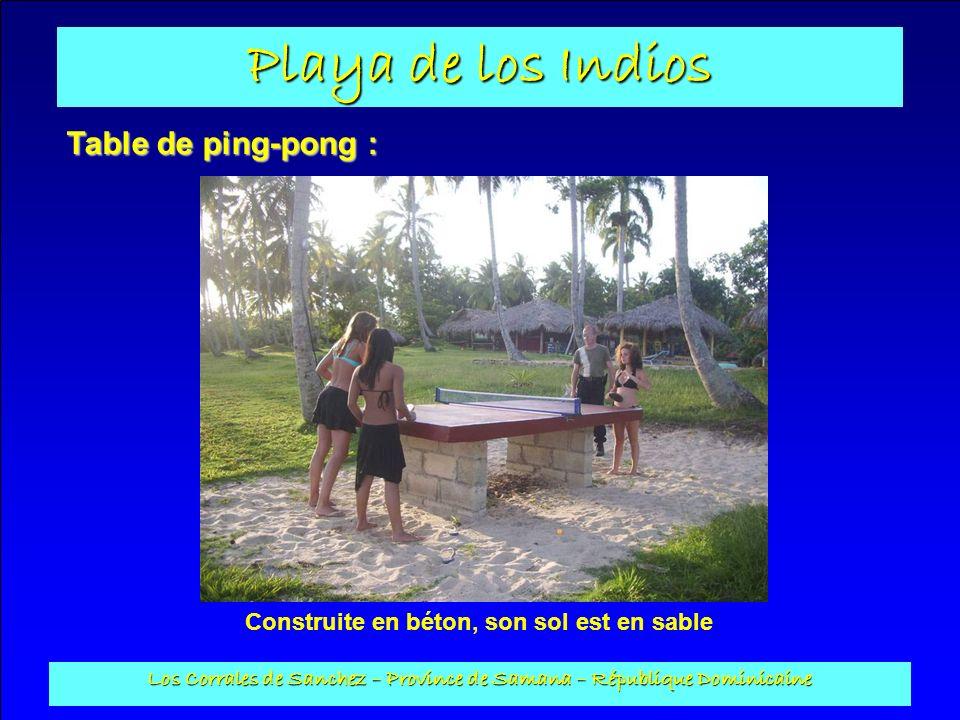 Playa de los Indios Los Corrales de Sanchez – Province de Samana – République Dominicaine Table de ping-pong : Construite en béton, son sol est en sab