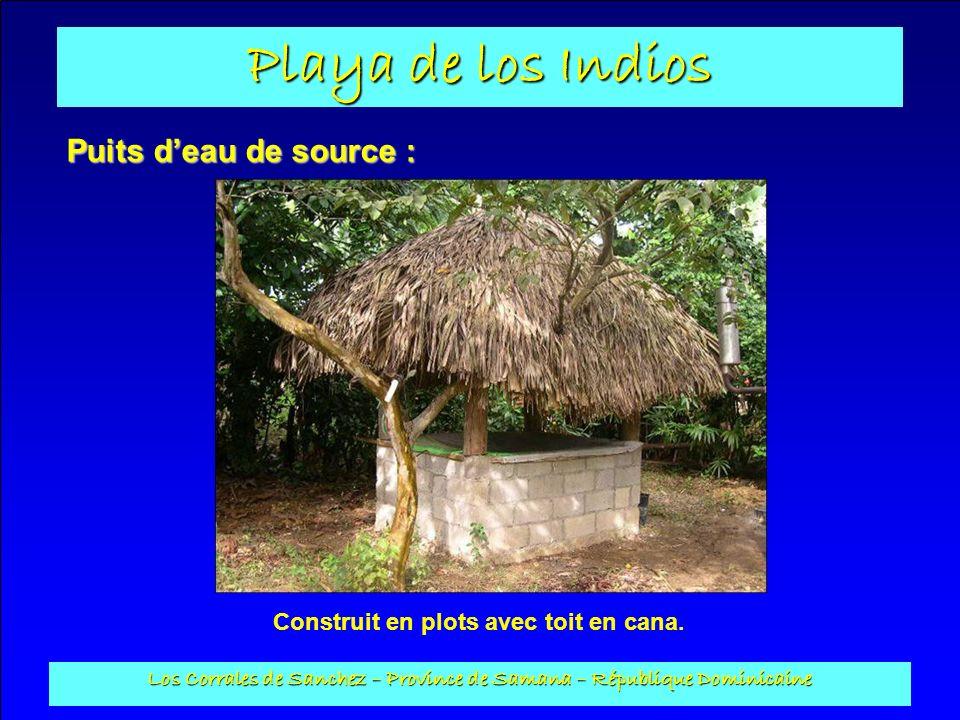 Playa de los Indios Los Corrales de Sanchez – Province de Samana – République Dominicaine Puits deau de source : Construit en plots avec toit en cana.