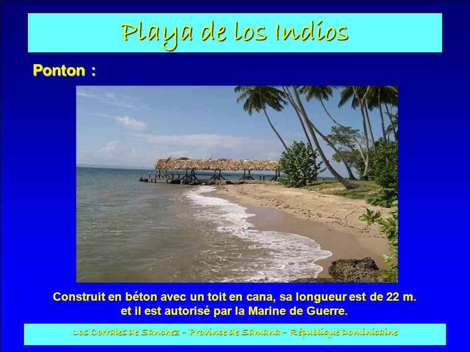 Playa de los Indios Los Corrales de Sanchez – Province de Samana – République Dominicaine Ponton : Construit en béton avec un toit en cana, sa longueu