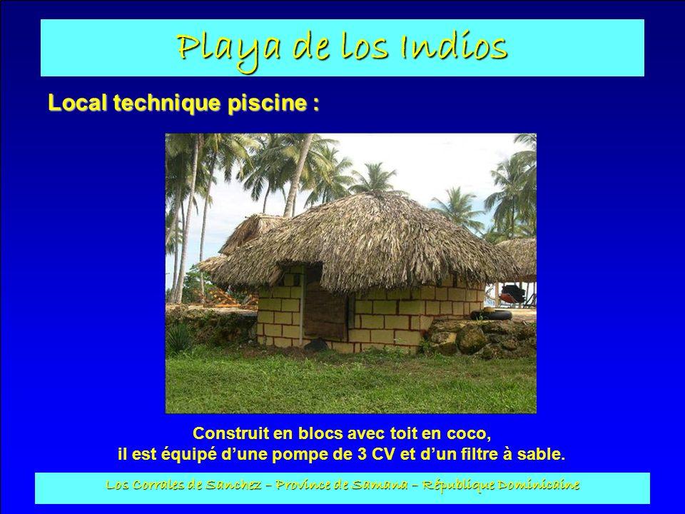 Playa de los Indios Los Corrales de Sanchez – Province de Samana – République Dominicaine Local technique piscine : Construit en blocs avec toit en co