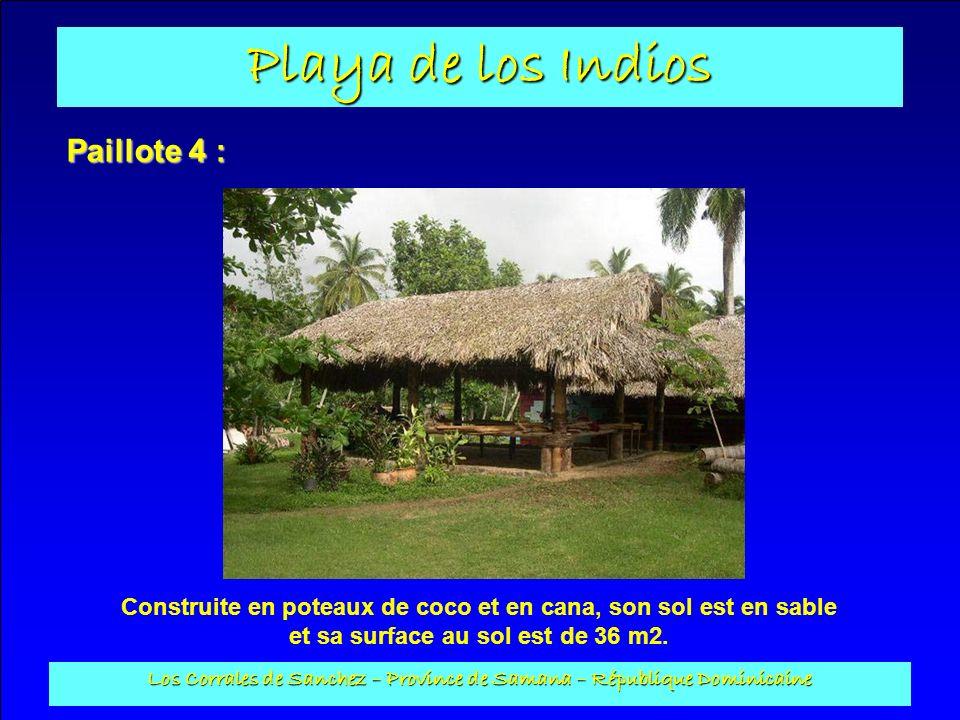 Playa de los Indios Los Corrales de Sanchez – Province de Samana – République Dominicaine Paillote 4 : Construite en poteaux de coco et en cana, son s