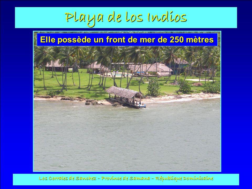 Playa de los Indios Los Corrales de Sanchez – Province de Samana – République Dominicaine Ponton : Construit en béton avec un toit en cana, sa longueur est de 22 m.
