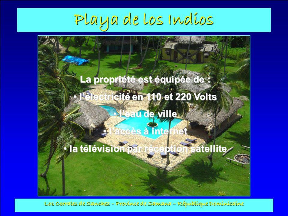 Playa de los Indios Los Corrales de Sanchez – Province de Samana – République Dominicaine Bungalow pour handicapés : Construit en plots avec toit en bois, Il a une surface habitable de 69 m2.