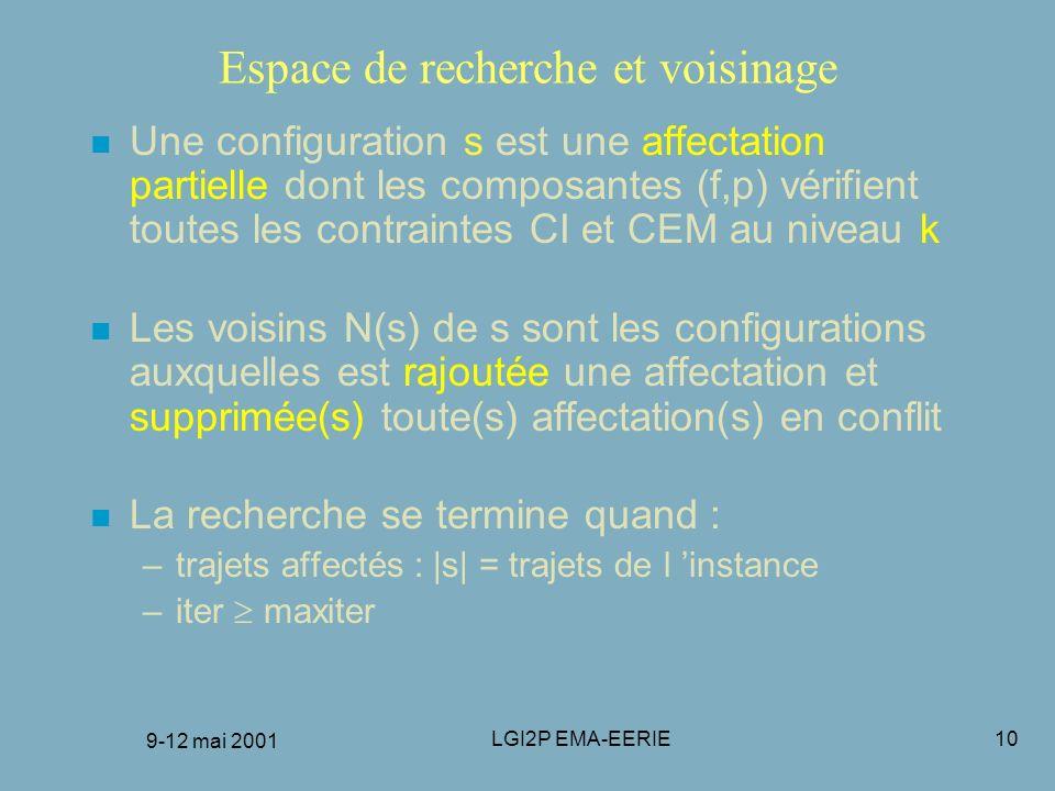 9-12 mai 2001 LGI2P EMA-EERIE10 Espace de recherche et voisinage n Une configuration s est une affectation partielle dont les composantes (f,p) vérifi