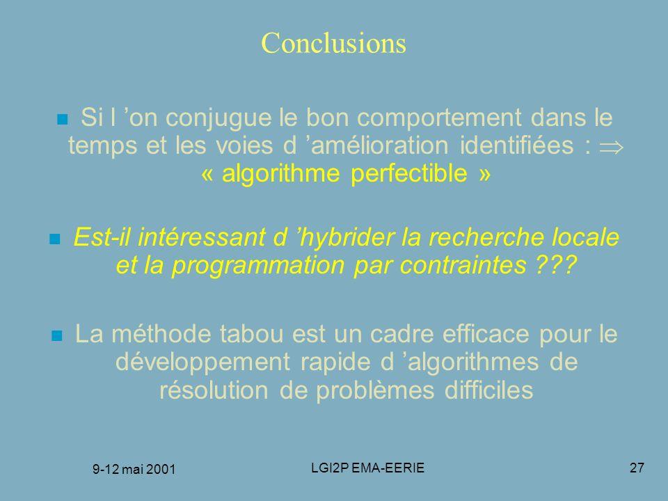 9-12 mai 2001 LGI2P EMA-EERIE27 Conclusions n Si l on conjugue le bon comportement dans le temps et les voies d amélioration identifiées : « algorithm