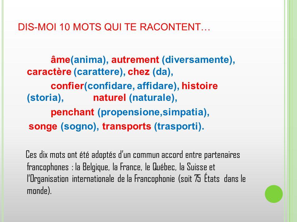 DIS-MOI 10 MOTS QUI TE RACONTENT… âme(anima), autrement (diversamente), caractère (carattere), chez (da), confier(confidare, affidare), histoire (stor