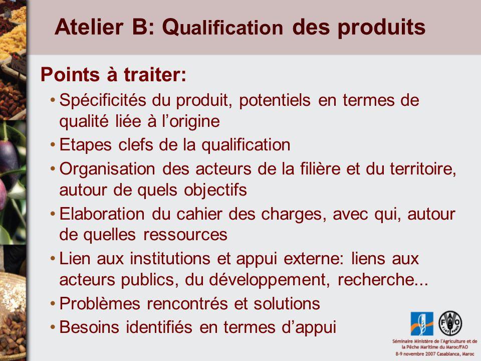 Atelier B: Q ualification des produits Points à traiter: Spécificités du produit, potentiels en termes de qualité liée à lorigine Etapes clefs de la q