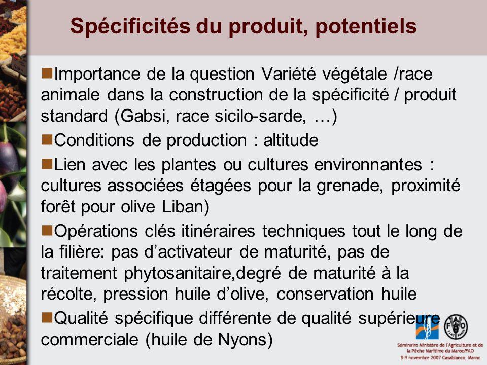 Spécificités du produit, potentiels Importance de la question Variété végétale /race animale dans la construction de la spécificité / produit standard