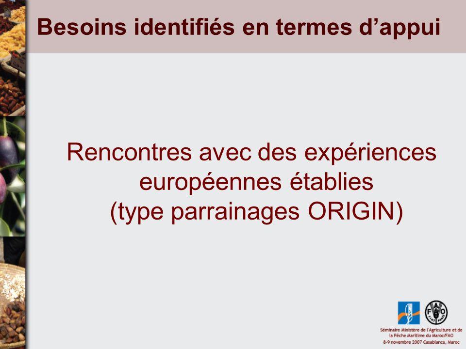 Besoins identifiés en termes dappui Rencontres avec des expériences européennes établies (type parrainages ORIGIN)