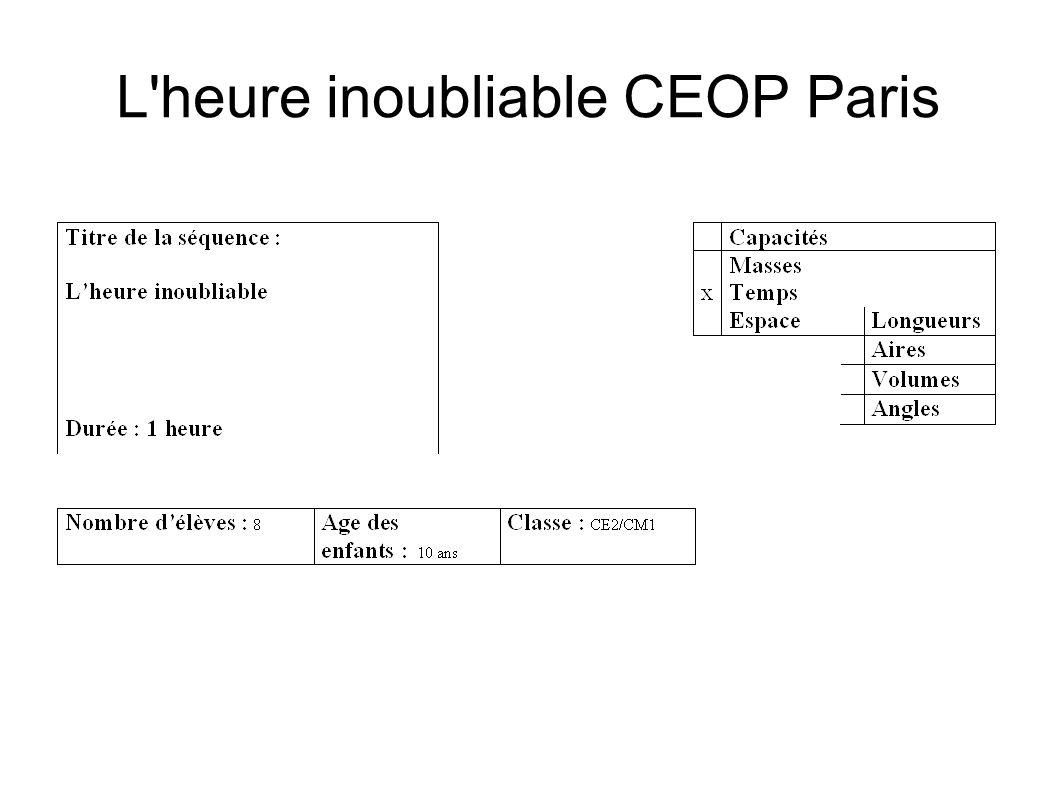 L'heure inoubliable CEOP Paris