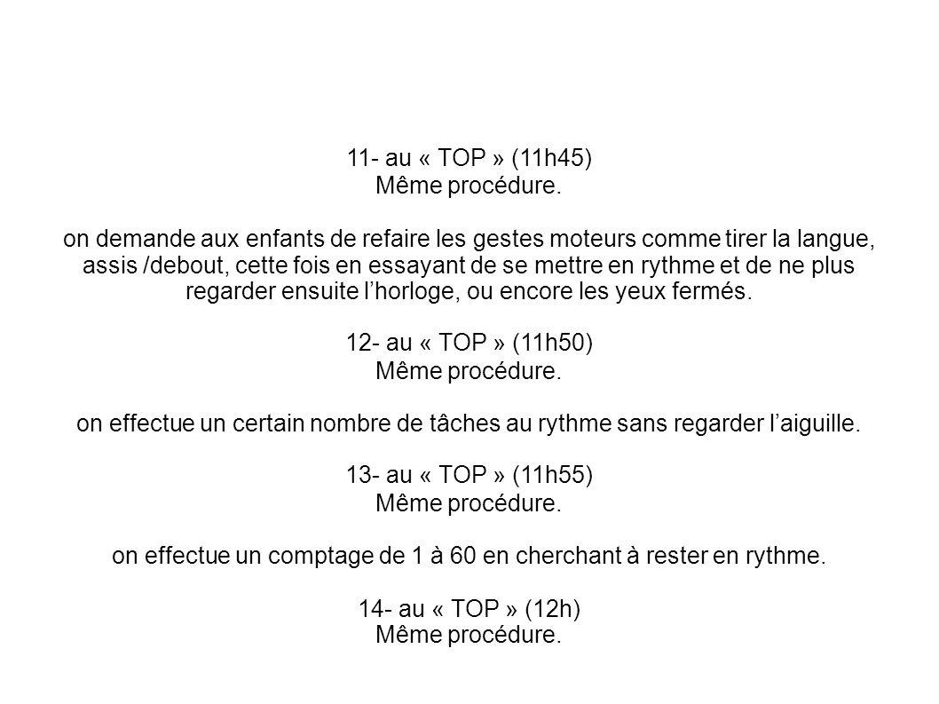 11- au « TOP » (11h45) Même procédure. on demande aux enfants de refaire les gestes moteurs comme tirer la langue, assis /debout, cette fois en essaya
