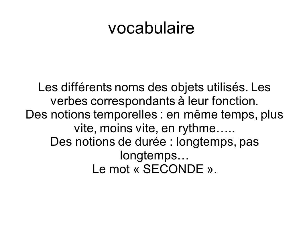 vocabulaire Les différents noms des objets utilisés. Les verbes correspondants à leur fonction. Des notions temporelles : en même temps, plus vite, mo