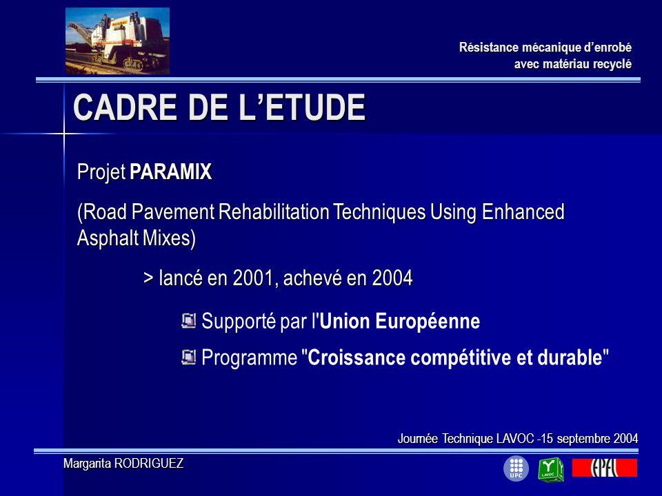 CADRE DE LETUDE Projet PARAMIX (Road Pavement Rehabilitation Techniques Using Enhanced Asphalt Mixes) > lancé en 2001, achevé en 2004 Programme