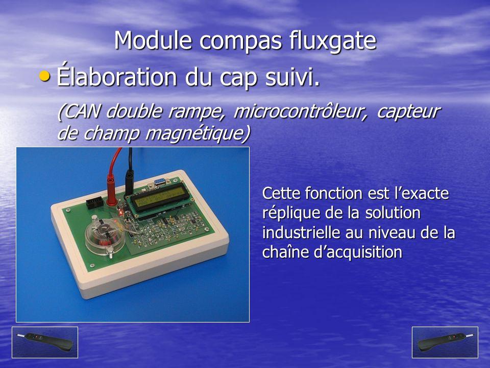 Module compas fluxgate Élaboration du cap suivi. Élaboration du cap suivi. (CAN double rampe, microcontrôleur, capteur de champ magnétique) Cette fonc
