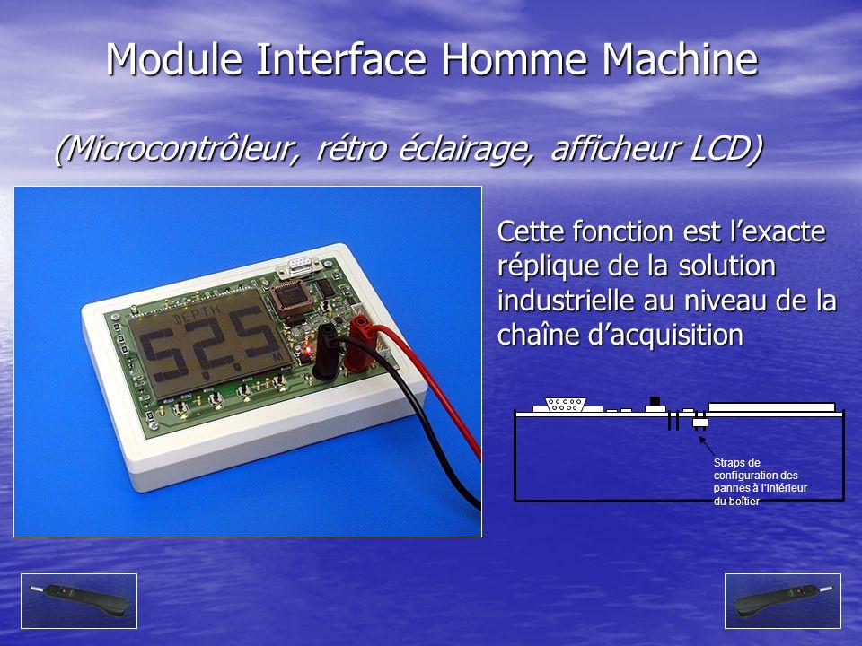 (Microcontrôleur, rétro éclairage, afficheur LCD) Module Interface Homme Machine Straps de configuration des pannes à lintérieur du boîtier Cette fonc