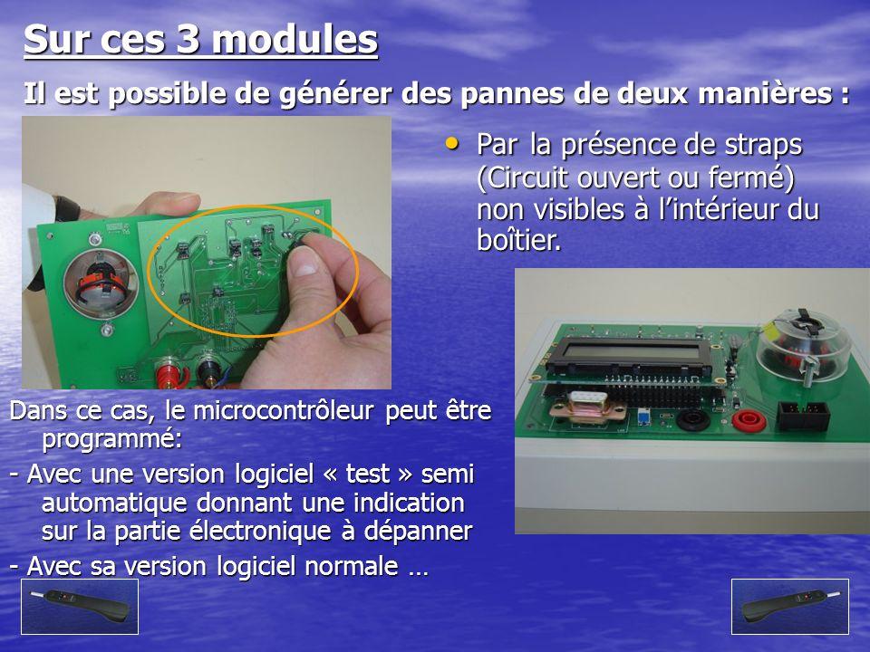 Sur ces 3 modules Il est possible de générer des pannes de deux manières : Par la présence de straps (Circuit ouvert ou fermé) non visibles à lintérie