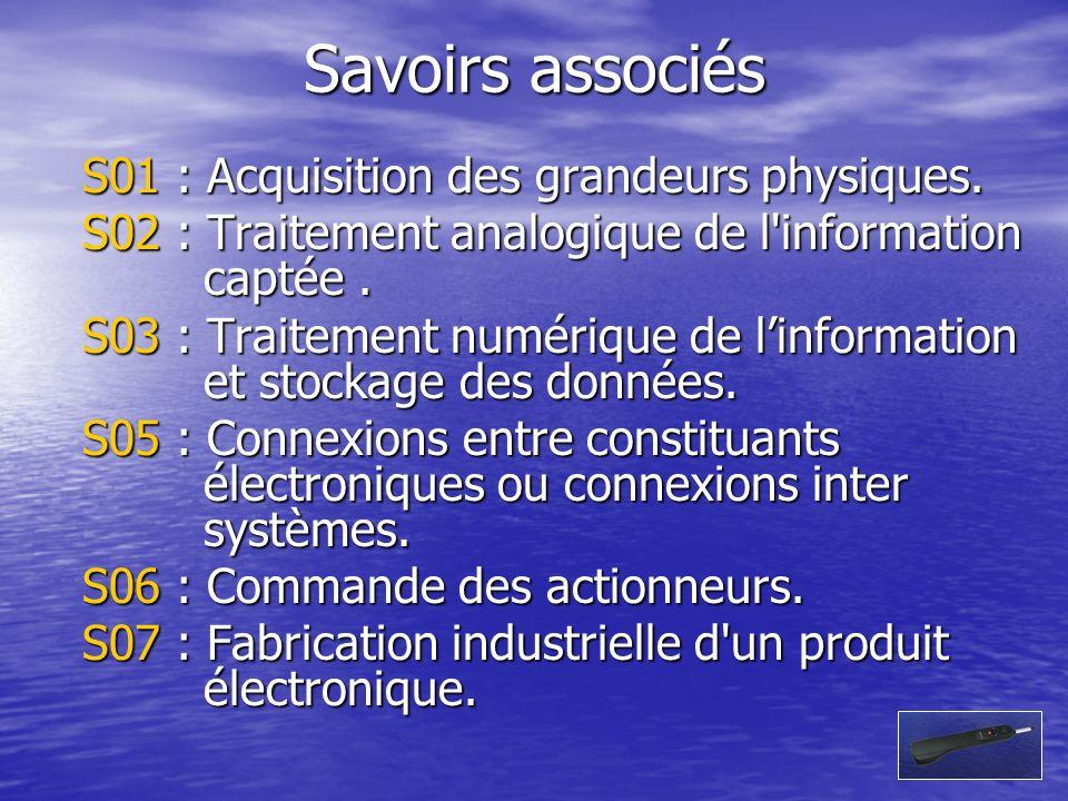 Savoirs associés S01 : Acquisition des grandeurs physiques. S02 : Traitement analogique de l'information captée. S03 : Traitement numérique de linform