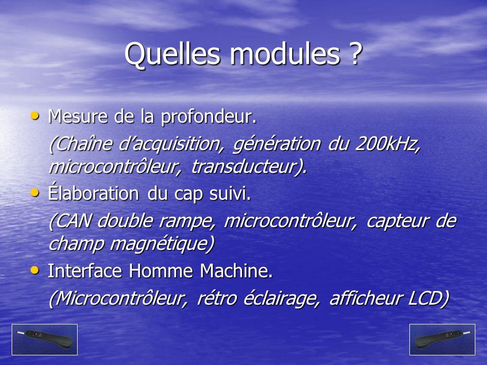 Quelles modules ? Mesure de la profondeur. Mesure de la profondeur. (Chaîne dacquisition, génération du 200kHz, microcontrôleur, transducteur). Élabor