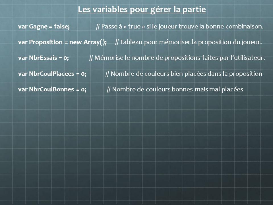 Les variables pour gérer la partie var Gagne = false; // Passe à « true » si le joueur trouve la bonne combinaison. var Proposition = new Array(); //