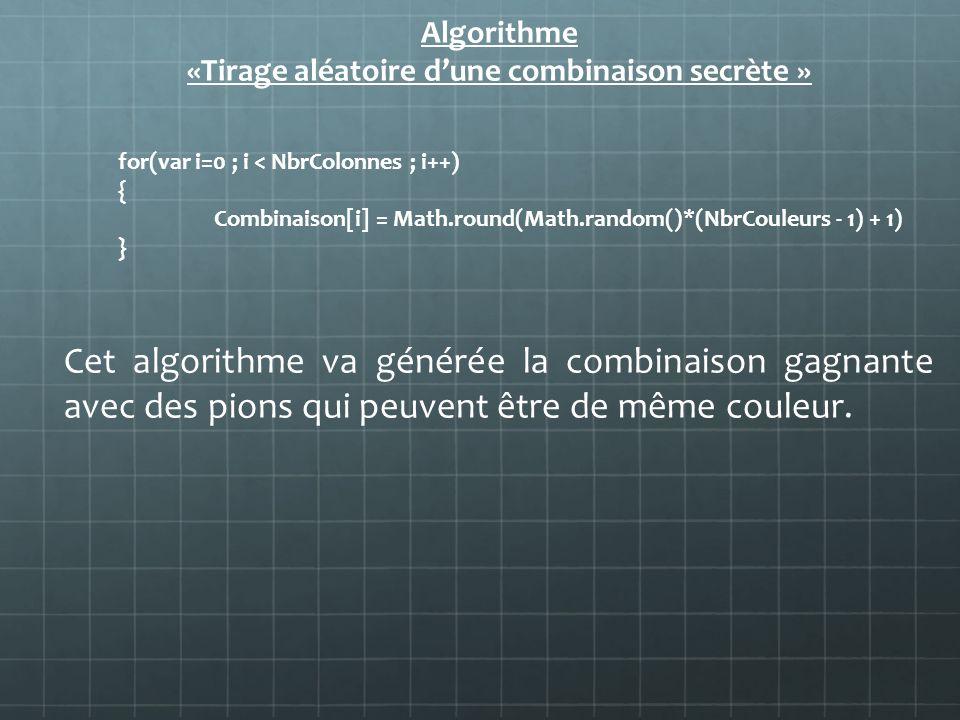 Algorithme «Tirage aléatoire dune combinaison secrète » for(var i=0 ; i < NbrColonnes ; i++) { Combinaison[i] = Math.round(Math.random()*(NbrCouleurs
