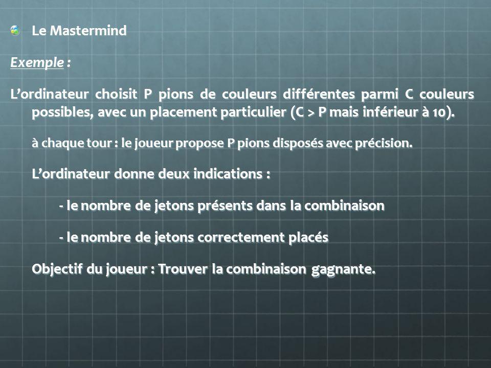 Le Mastermind Exemple : Lordinateur choisit P pions de couleurs différentes parmi C couleurs possibles, avec un placement particulier (C > P mais infé