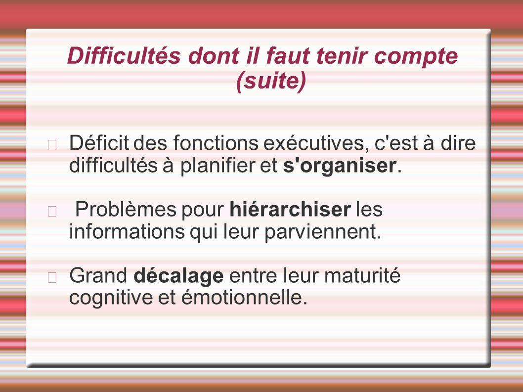 Difficultés dont il faut tenir compte (suite) Déficit des fonctions exécutives, c'est à dire difficultés à planifier et s'organiser. Problèmes pour hi