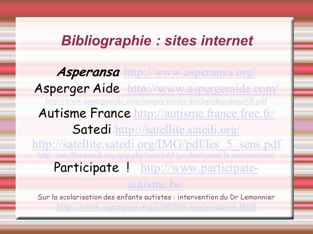 Bibliographie : sites internet Asperansa http://www.asperansa.org/ http://www.asperansa.org/ Asperger Aide http://www.aspergeraide.com/ http://www.asp