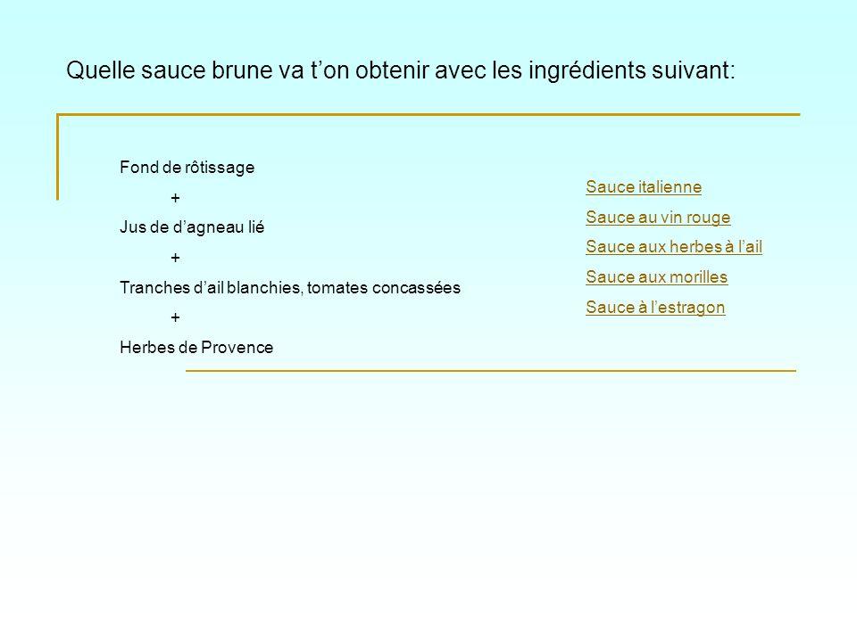 Quelle sauce brune va ton obtenir avec les ingrédients suivant: Sauce italienne Sauce au vin rouge Sauce aux herbes à lail Sauce aux morilles Sauce à
