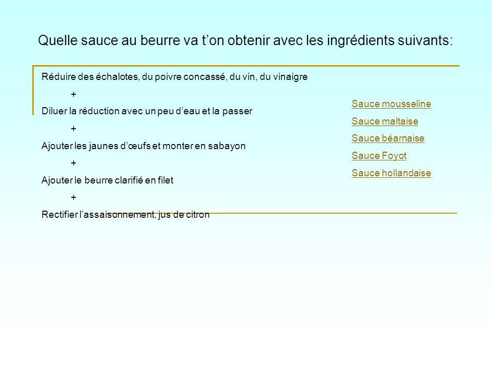 Quelle sauce au beurre va ton obtenir avec les ingrédients suivants: Sauce mousseline Sauce maltaise Sauce béarnaise Sauce Foyot Sauce hollandaise Réd