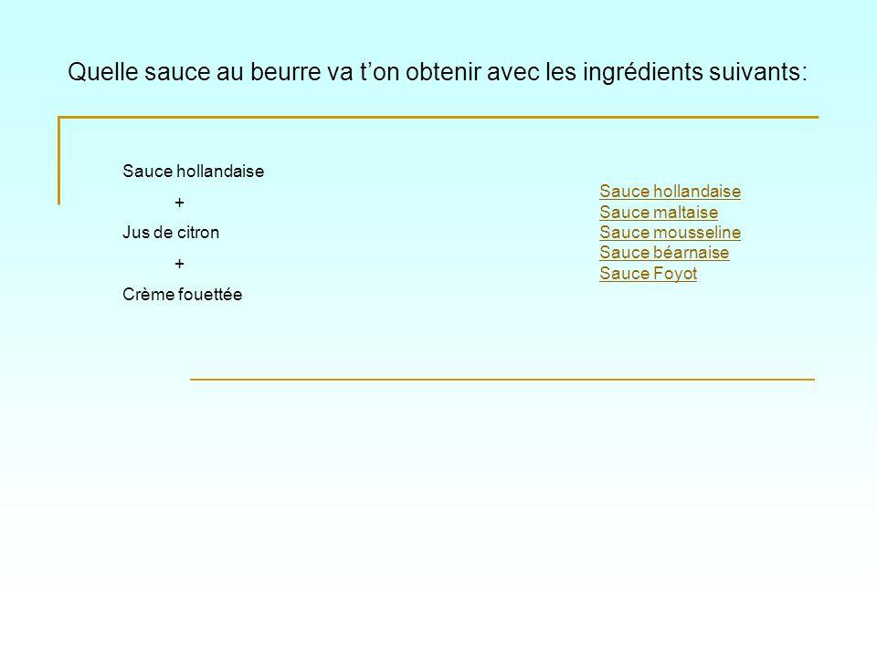 Quelle sauce au beurre va ton obtenir avec les ingrédients suivants: Sauce hollandaise Sauce maltaise Sauce mousseline Sauce béarnaise Sauce Foyot Sau
