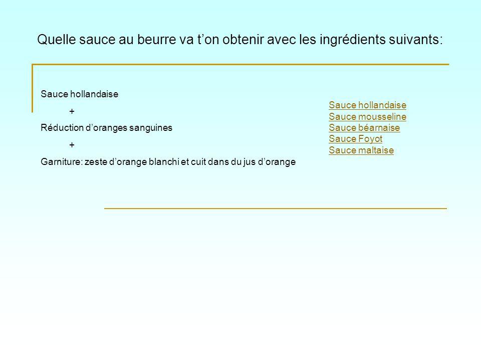 Quelle sauce au beurre va ton obtenir avec les ingrédients suivants: Sauce hollandaise Sauce mousseline Sauce béarnaise Sauce Foyot Sauce maltaise Sau
