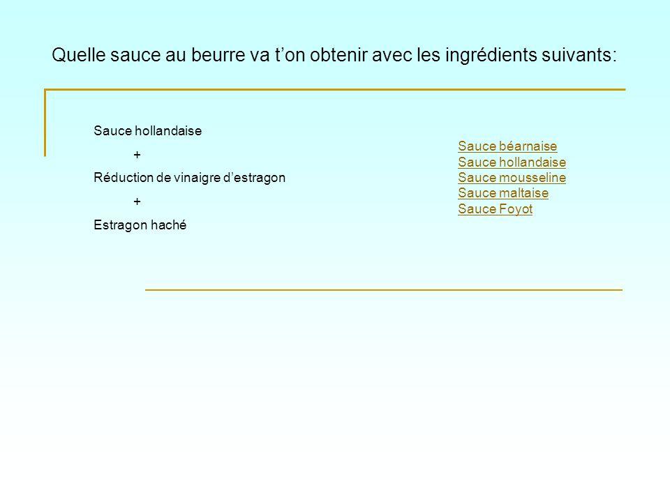 Quelle sauce au beurre va ton obtenir avec les ingrédients suivants: Sauce béarnaise Sauce hollandaise Sauce mousseline Sauce maltaise Sauce Foyot Sau