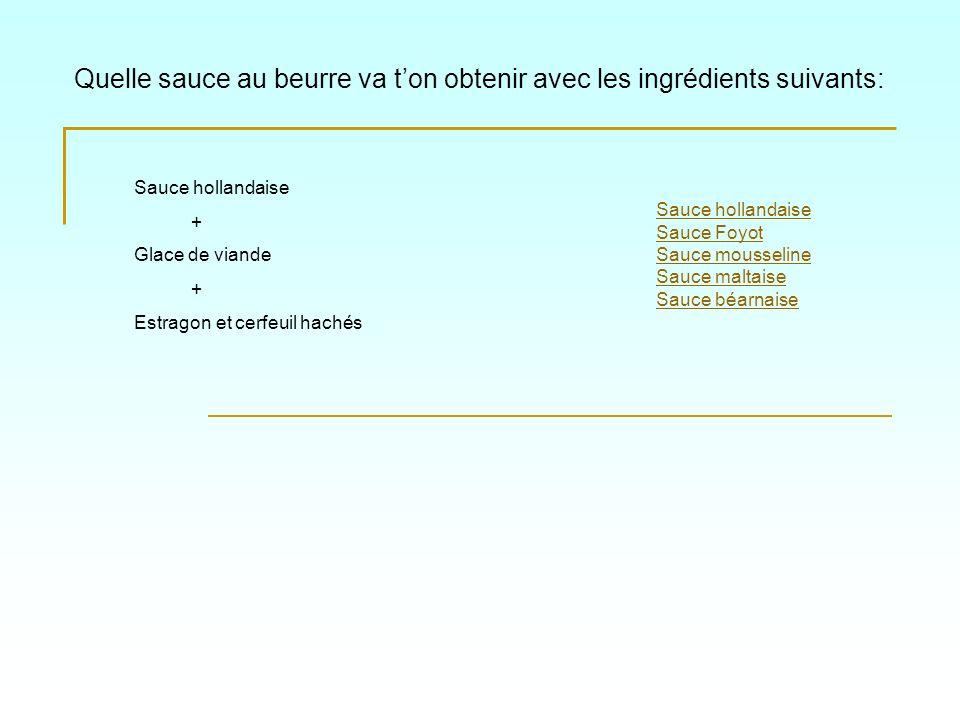Quelle sauce au beurre va ton obtenir avec les ingrédients suivants: Sauce hollandaise Sauce Foyot Sauce mousseline Sauce maltaise Sauce béarnaise Sau