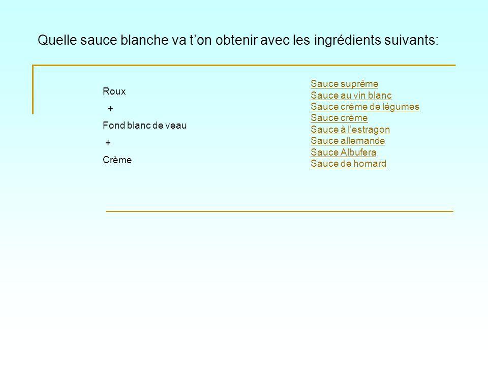Quelle sauce blanche va ton obtenir avec les ingrédients suivants: Sauce suprême Sauce au vin blanc Sauce crème de légumes Sauce crème Sauce à lestrag