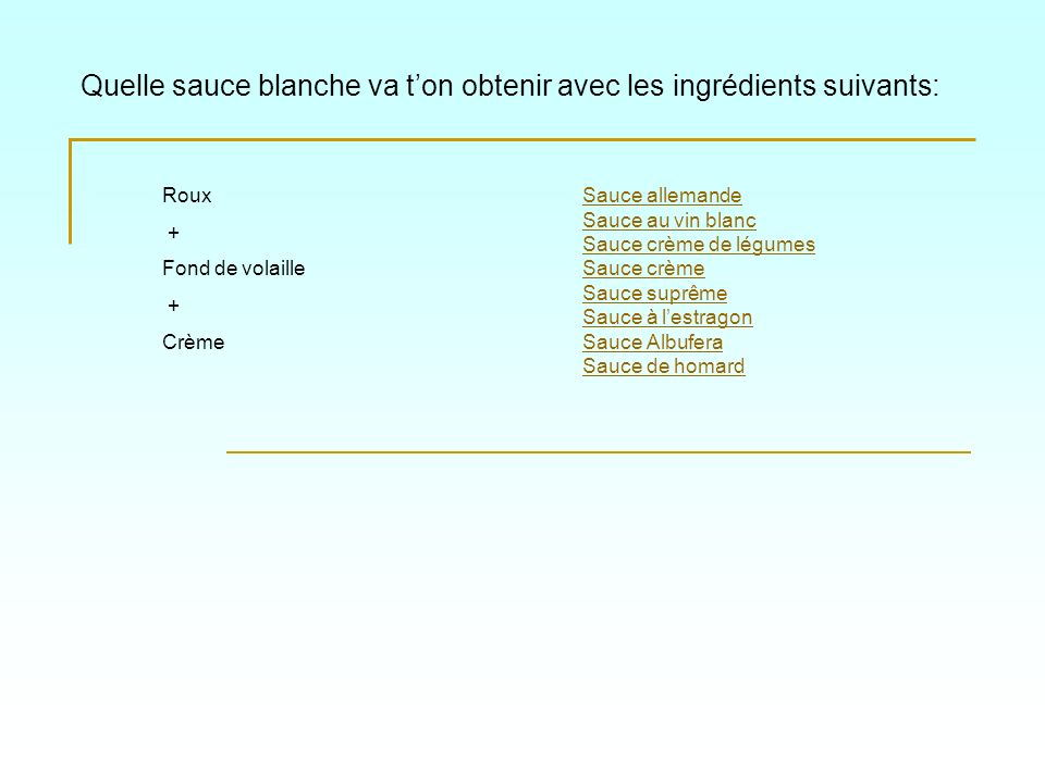 Quelle sauce blanche va ton obtenir avec les ingrédients suivants: Sauce allemande Sauce au vin blanc Sauce crème de légumes Sauce crème Sauce suprême