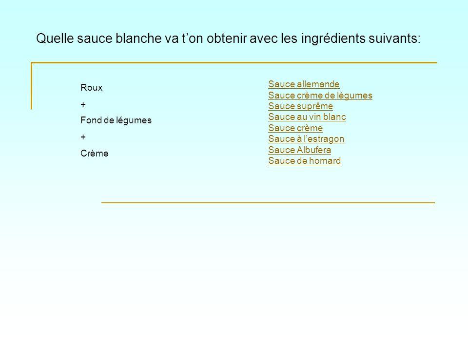 Quelle sauce blanche va ton obtenir avec les ingrédients suivants: Sauce allemande Sauce crème de légumes Sauce suprême Sauce au vin blanc Sauce crème