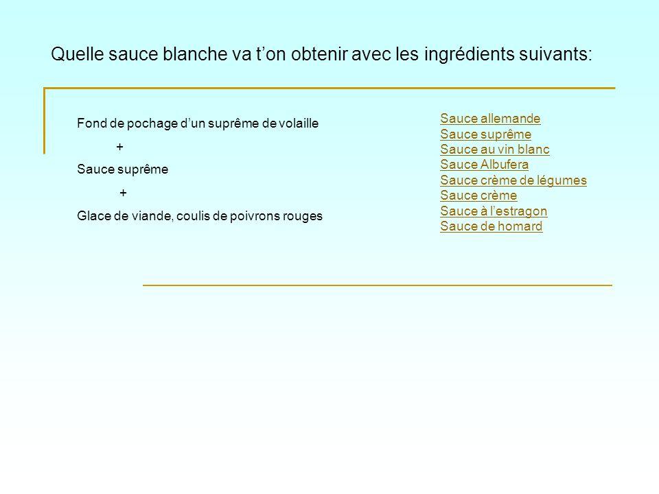 Quelle sauce blanche va ton obtenir avec les ingrédients suivants: Sauce allemande Sauce suprême Sauce au vin blanc Sauce Albufera Sauce crème de légu