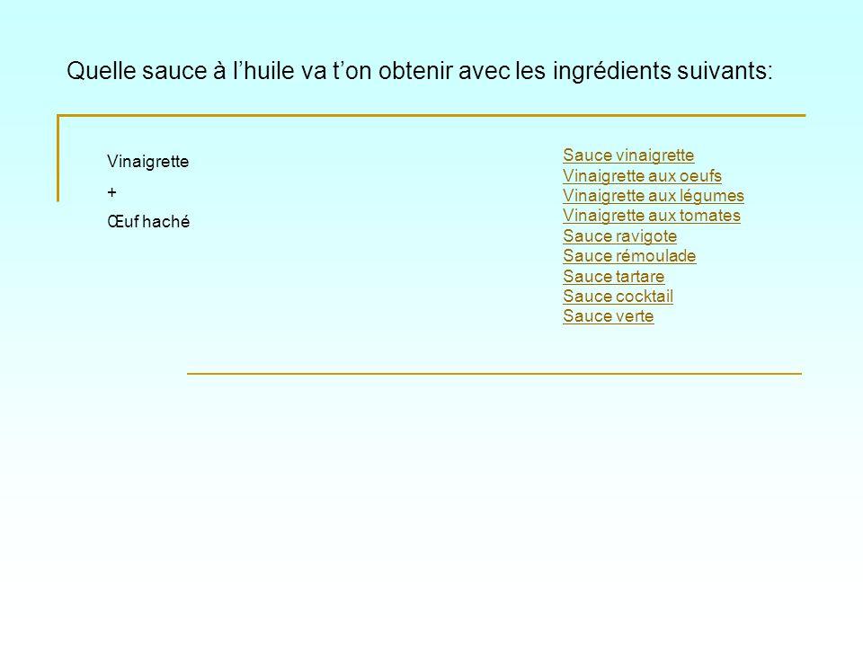 Quelle sauce à lhuile va ton obtenir avec les ingrédients suivants: Sauce vinaigrette Vinaigrette aux oeufs Vinaigrette aux légumes Vinaigrette aux to