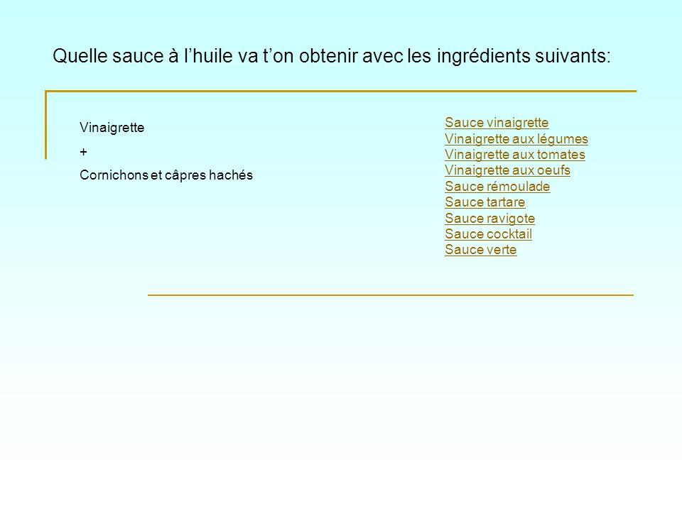 Quelle sauce à lhuile va ton obtenir avec les ingrédients suivants: Sauce vinaigrette Vinaigrette aux légumes Vinaigrette aux tomates Vinaigrette aux