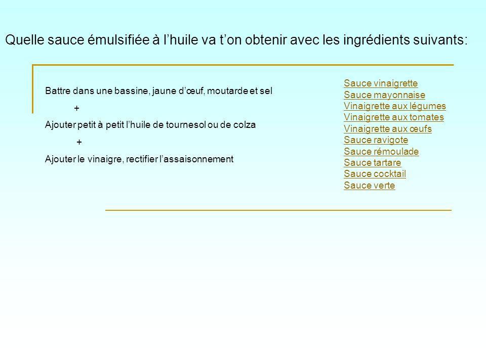 Quelle sauce émulsifiée à lhuile va ton obtenir avec les ingrédients suivants: Sauce vinaigrette Sauce mayonnaise Vinaigrette aux légumes Vinaigrette