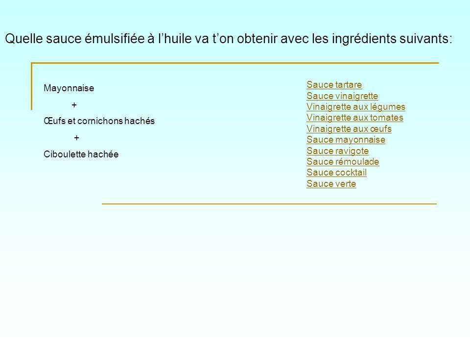 Quelle sauce émulsifiée à lhuile va ton obtenir avec les ingrédients suivants: Sauce tartare Sauce vinaigrette Vinaigrette aux légumes Vinaigrette aux