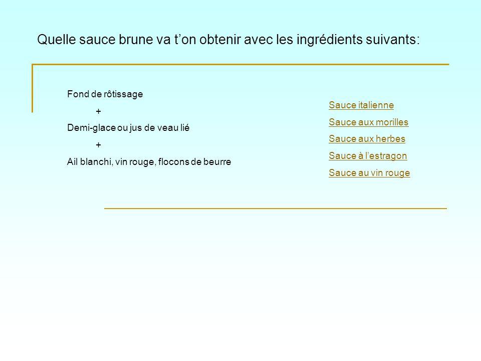 Quelle sauce brune va ton obtenir avec les ingrédients suivants: Sauce aux morilles Sauce italienne Sauce au vin rouge Sauce à lestragon Sauce aux herbes Fond de rôtissage + Demi-glace ou jus de veau lié + Morilles étuvées + Crème