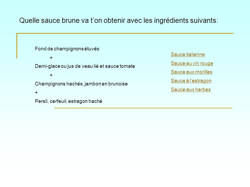 Quelle sauce brune va ton obtenir avec les ingrédients suivant: Sauce italienne Sauce à lestragon Sauce au vin rouge Sauce aux morilles Sauce aux herbes Fond de rôtissage + Jus de volaille lié + Estragon haché + Crème