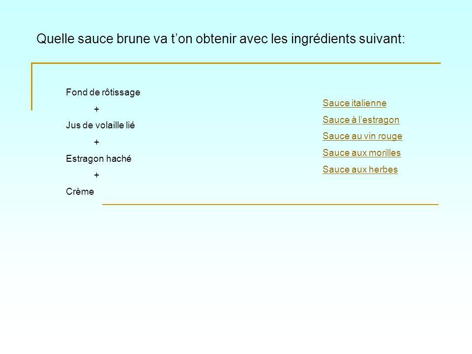 Quelle sauce brune va ton obtenir avec les ingrédients suivant: Sauce italienne Sauce au vin rouge Sauce aux herbes à lail Sauce aux morilles Sauce à lestragon Fond de rôtissage + Jus de dagneau lié + Tranches dail blanchies, tomates concassées + Herbes de Provence