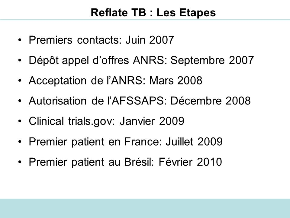 Reflate TB : Les Etapes Premiers contacts: Juin 2007 Dépôt appel doffres ANRS: Septembre 2007 Acceptation de lANRS: Mars 2008 Autorisation de lAFSSAPS