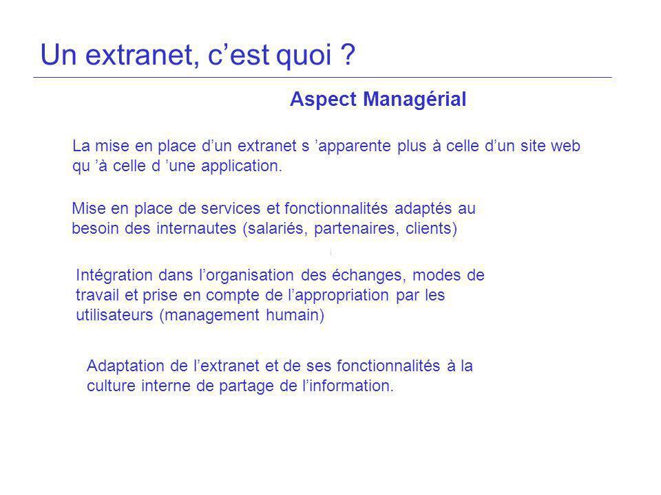 Un extranet, cest quoi ? Aspect Managérial La mise en place dun extranet s apparente plus à celle dun site web qu à celle d une application. Mise en p