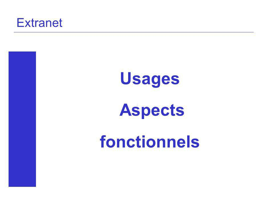 Extranet Usages Aspects fonctionnels