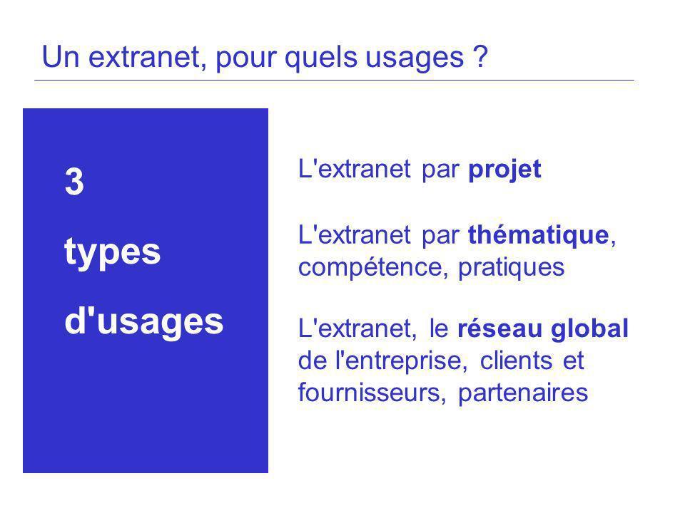 Un extranet, pour quels usages ? 3 types d'usages L'extranet par projet L'extranet par thématique, compétence, pratiques L'extranet, le réseau global